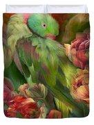 Parrot In Parrot Tulips Duvet Cover