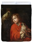 Parrot Watching A Boy Holding A Monkey Duvet Cover