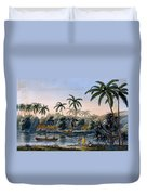 Part Of The Village Of Matavae, Coconut Duvet Cover