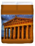 Parthenon On A Stormy Day Duvet Cover