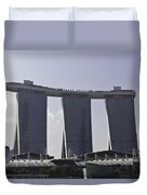 Partial View Of The Artscience Museum And The Marina Bay Sands Duvet Cover