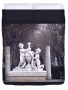 Paseo Del Prado In Winter Madrid Duvet Cover