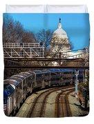 Passenger Metro Train With Us Capitol Duvet Cover