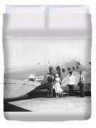 Passengers Boarding Airplane Duvet Cover