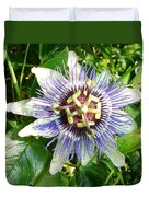Passiflora Against Green Foliage In A Garden  Duvet Cover