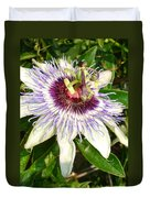 Passiflora Close Up With Garden Background  Duvet Cover
