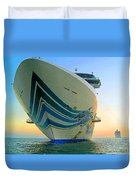 Passing Cruise Ships At Sunset Duvet Cover