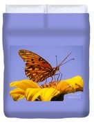 Passion Butterfly On The Mexican Sunflower Duvet Cover