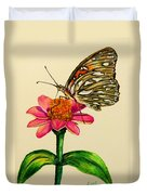 Passion Butterfly On Zinnia Duvet Cover