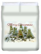 Pasta Christmas Trees With Text Duvet Cover