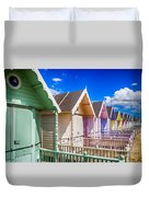 Pastel Beach Huts 3 Duvet Cover
