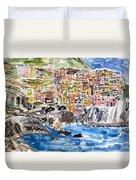 Pastel Patchwork Village Duvet Cover