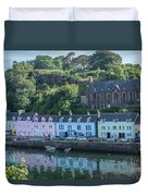 Pastel Rowhome In The Bay Highlands Scotland Duvet Cover
