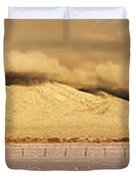 Pasture Land Covered In Snow At Sunset Duvet Cover