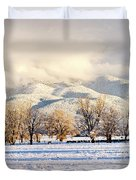 Pasture Land Covered In Snow With Taos Duvet Cover
