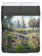 Pasture With Fence Duvet Cover