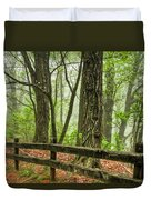 Path Into The Forest Duvet Cover by Debra and Dave Vanderlaan
