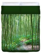 Path Through Bamboo Forest Duvet Cover
