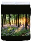 Sunrise Path Through Bluebell Woods Duvet Cover