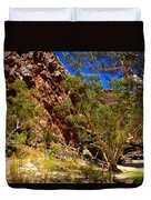 Path To The Gum Trees And Waterhole Duvet Cover