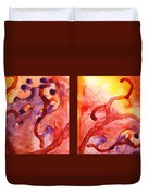 Path To The Unknown Warm Diptych  Duvet Cover