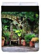 Patio Garden In The Rain Duvet Cover