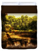 Patio Seating At The Nature Center Merged Image Duvet Cover