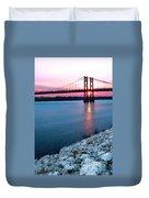 Patriotic Sunset Thru Bridge Duvet Cover