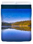 Patterson Lake Fall Morning Abstract Landscape Painting Duvet Cover