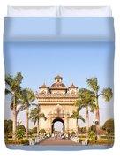 Patuxai Gate - Vientiane - Laos Duvet Cover