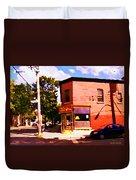 Paul Patate Pointe St Charles South West Montreal Autumn Street Scene Carole Spandau Duvet Cover