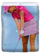 Paula Creamer In Actionon The Evian Masters Duvet Cover