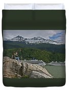 Pause In Wonder At Cruise Ships In Alaska Duvet Cover