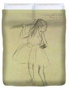Girl Dancer At The Barre Duvet Cover