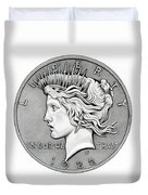 Graphite Peace Dollar Duvet Cover