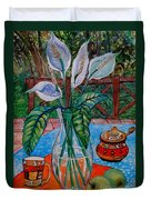 Peace Lilies On The Patio Duvet Cover