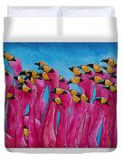 Peace Love And Flamingos Duvet Cover by Patti Schermerhorn