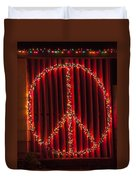 Peace Sign Christmas Lights Duvet Cover