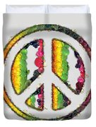 Peace Sign Fruits And Vegetables Duvet Cover