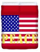 Peace The American Flag Duvet Cover