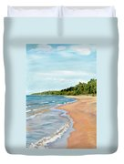 Peaceful Beach At Pier Cove Duvet Cover