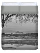 Peaceful Early Morning First Light Longs Peak View Bw Duvet Cover