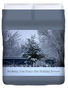 Peaceful Holiday Card - Winter Landscape Duvet Cover