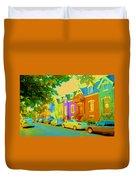 Peaceful Painted Pastel Rowhouses Printemps Plateau Montreal Scene Du Rue Carole Spandau Duvet Cover
