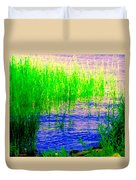 Peaceful Stream  Quebec Landscape Art Tall Grasses At The Lakeshore Waterscene Carole Spandau Duvet Cover