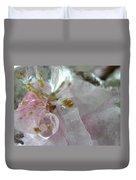 Peach Blossom In Ice Three Duvet Cover
