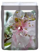 Peach Blossom In Ice Two Duvet Cover