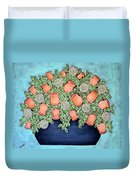Peach Blossoms And Licorice Swirls Duvet Cover