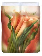 Peach Callas Duvet Cover