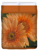Peach Daisy Duvet Cover